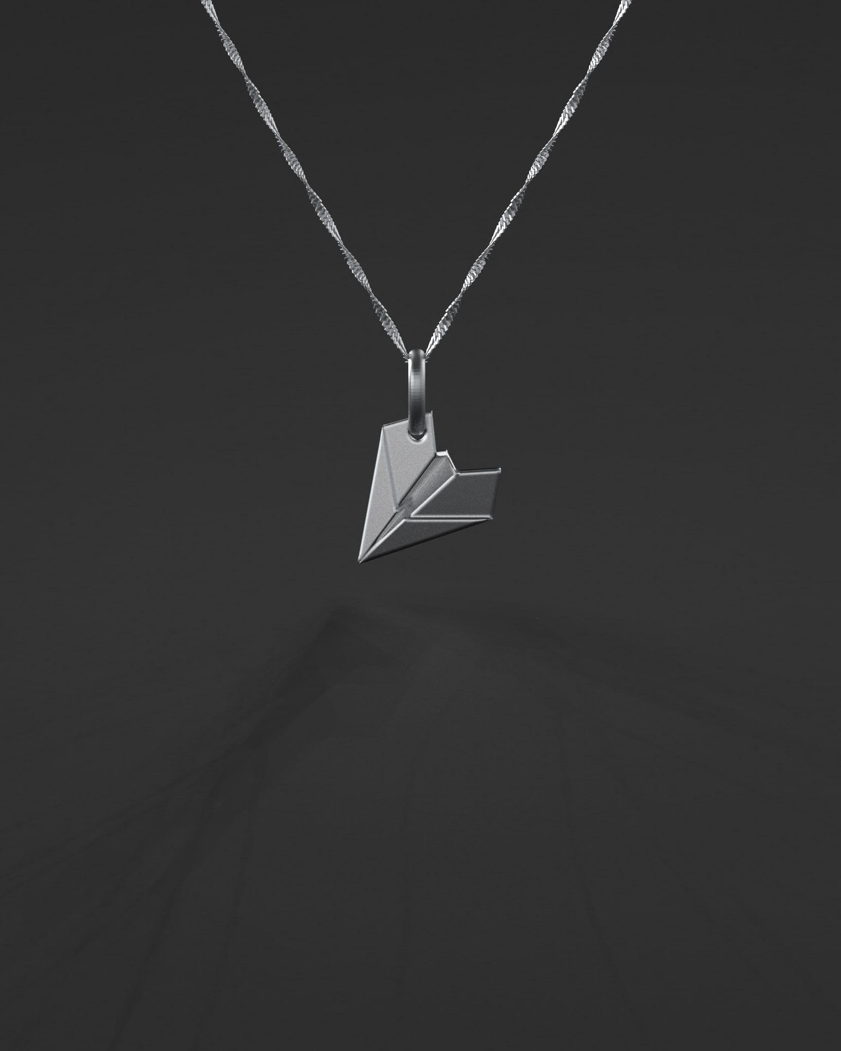 colar de prata para viajantes - avião de papel